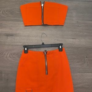 Orange zipper top & skirt set
